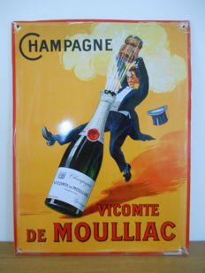 Metal advertising sign for 'Champagne Vicomte de Moulliac'  - 2nd half of the 20th century