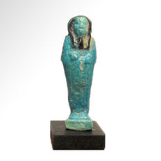 Egyptian Faience Bichrome Shabti, 6.6 cm H