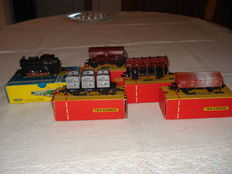 Trix Express H0 - 2411/3423/3448/455/458 - locomotive BR 80 and 4 freight carriages