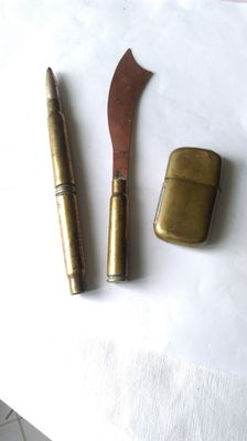 crafts poilu objects paper knife/ pencil pen / militaria WW1