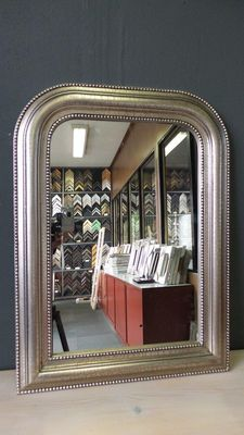 English bar mirror in crackleware frame - Hand plated - Silver