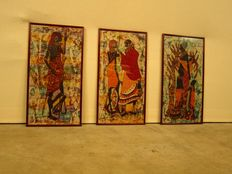 Set of three Batik drawings, Kenya