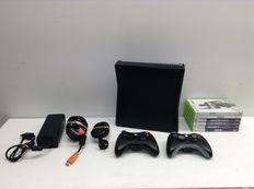 Xbox 360 250GB | 2 Controllers | 6 Games - Grand Theft Auto IV - Mafia II - Call of Duty - Ghosts - etc