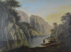 Scottish School. (19th century) - Highland loch scene with Scotsmen by a boat.