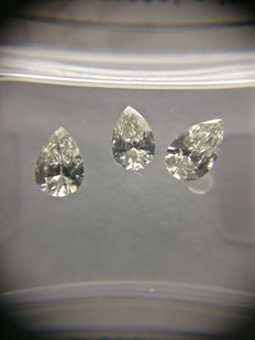 Lot of 3 Pear cut diamonds total 0.66 ct F VVS2