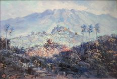 S. Soejono (20th century) - landscape with volcano on Java in Indonesia