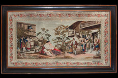Large embroidery panel depicting a pastoral village scene, Tirolo, 19th century