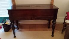 """Unusual """"piano top"""" desk in wood with sliding shelf, mid 20th century"""