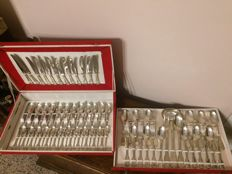 Two 800 silver plated cutlery sets with case