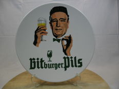 Unique and rare wall plate of Bitburger Pils. 1960s/1970s