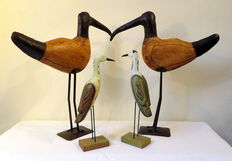 Four birds - metal and wood - second half 20th century