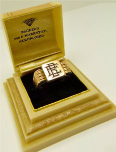 """Sterling silver & 18kt gold """"engraved initials E.B."""" 1920's Art Deco ring, no reserve"""