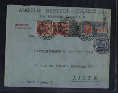 Italy - Kingdom 1925/1926 - Express n. 13, cancelled, together with other values, on envelope from Milan to Lille