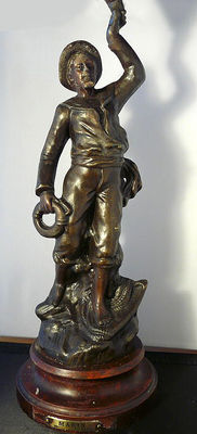 Candle holder bronze sculpture sailor, after Charles Ruchot, first half 20th century