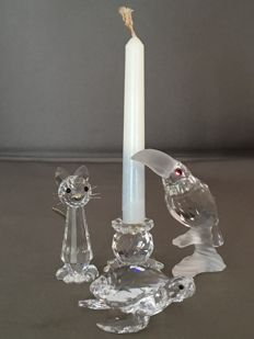 Swarovski - Candle holder mini with pin - Replica Cat - Toucan on tree trunk - Sea turtle.