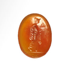 Greek Cornelian Intaglio with Fruits Offerer, 1.7 cm L