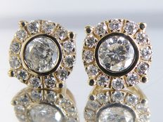 Yellow gold ear studs set with diamonds of 0.56 ct in total ***no reserve***