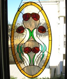 Beautiful stained glass in Tiffany technique created some 40 years ago