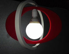 White and red single light pendant - Italy, 1970s