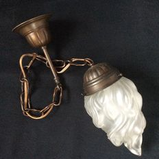 Hanging lamp with glass flame
