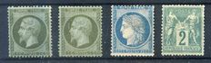 France 1862/1877- four perforated classics. Yvert numbers 19, 19a, 60C and 72.