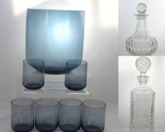 Mixed Lot of 9 Glass Items - 2 Vintage Glass Decanters - Large Punch Bowl and 6 Glasses