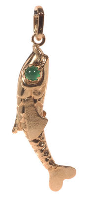Gold pendant of a fish, set with zirconia.
