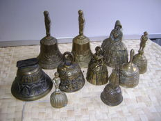 Collection copper/bronze cow and table bells