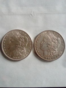 USA – 1 dollar 1890 and 1881 S – silver – 2 coins.