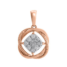 No reserve . Brand New 18kt pink gold love Knot diamond pendant. Round brilliant cut diamonds with a total wt of 0.25ct. GH/P3 diamond quality