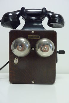 Antique wooden wall telephone with bakelite horn 1947 after WW2