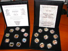"Italy and Mexico - 50 Lire ""Sistine Chapel 500 years"" ceiling frescos (10 different) coins + ""Empire of the Inca"" (10 different) in box"