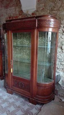 Solid walnut display cabinet - mint condition