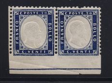 Kingdom of Italy – 1862 – pair of 20 centesimi – without perforated – with frame line at the base