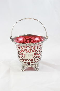 A silver victorian sugar Basket made in London 1862 - with Red inlay