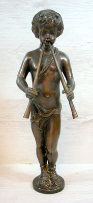 Classic bronze sculpture of a young man with 2 flutes - Italy - first half of 20th century