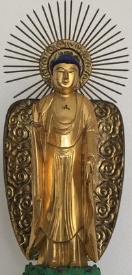 Large and very detailed gold-plated wooden statue of Buddha (41 cm) - Japan - Early 20th century
