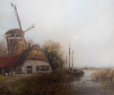 Siem Schaeffer (1924-2005)- Dutch river view with boot and mill