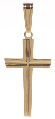 Gold, cross pendant decorated with lines.