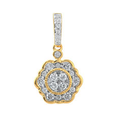 No reserve . Brand New 18kt yellow gold Vintage diamond pendant. Made with 0.33ct of Round brilliant cut diamonds. GH/P3 diamond quality.
