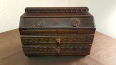 Jewelry boxes handcrafted from genuine Walnut wood with magnificent decorations-early 20th century-Italy.