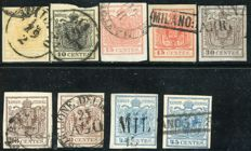 Lombardy Venetia, 1850 - Lot of 9 stamps