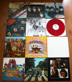 The Beatles- Great lot of 11 lp's, most are in VG+/ EXCELLENT condition. Including Revolver (mono reissue on red wax), The White Album (Dutch repress w. misprint, poster & photos!) & Abbey Road (1st Dutch pressing)