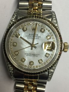 Rolex unisex wristwatch, 36 mm, gold and steel, personalised, with diamonds