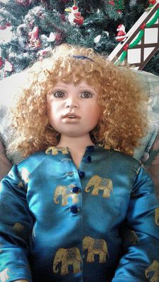 Christine Orange doll Ella - exclusive original porcelain doll with stamp - England