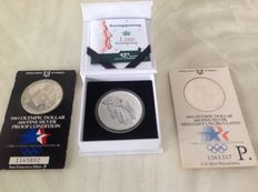United States and the Netherlands - Dollars 1983 Olympics' + King medal in 2015 (total 3 pieces) - Silver