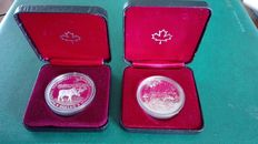 Canada and United States – Dollar 1980 'Arctic Territories' and 1985 'Moose' + Dollar 1999 'Silver Eagle'