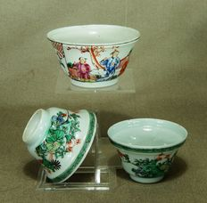 Three porcelain bowls - China - 18th century.