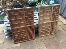 Beautiful antique wooden typecases, the Netherlands, first half 20th century