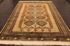 Beautiful old hand-knotted Art Deco oriental carpet, 210 x 300 cm, Afghan around 1950/1960, made in Afghanistan